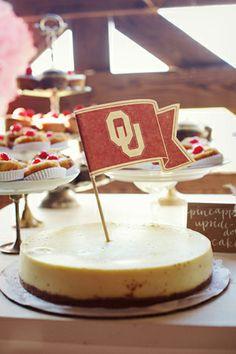 BOOMER SOONER School spirit groom's cheesecake.   Southern Weddings