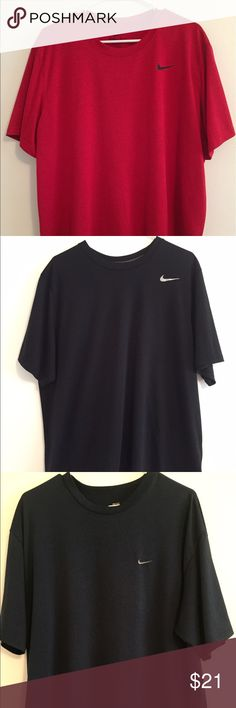 Nike Dri-Fit athletic short sleeve shirts Three Dri -Fit athletic short sleeve shirts in good used condition only used for the gym in (red) (black) (navy blue) all in a bundle Nike Shirts Tees - Short Sleeve
