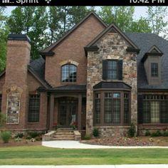 House Exterior Brick And Stone Design Ideas Stone Exterior Houses, Black House Exterior, Exterior House Colors, Stone Houses, Exterior Homes, Brown Brick Houses, Brick House Designs, Brick Face, Design Exterior