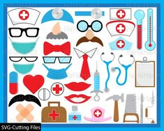 Doctor Props - Set Clipart - Digital Clip Art Graphics, Personal, Commercial Use - 166 PNG images Nurse Party, Clip Art, Photo Booth Props, Illustrations, Digital Stamps, Etsy, Prints, Cutting Files, A4 Size