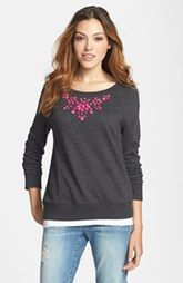 Halogen� Embellished Neck Sweatshirt (Regular & Petite) available at Nordstrom.