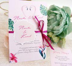 Zaproszenia ślubne Aloha W1, tropikalne, zakochane flamingi