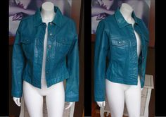 Vintage Look Teal Leather Gap Jean Jacket Style Size Large Great For Spring by WestCoastVintageRSL, $88.00