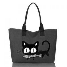 Casual Cat Print and Canvas Design Women's Shoulder Bag, GRAY in Shoulder Bags | DressLily.com  Only $13.00!!!