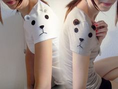 Set of TWO of my Sleeve Animal tees kitten by ThePetiteChouette, $52.00