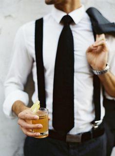 Black suspenders, black tie, white shirt