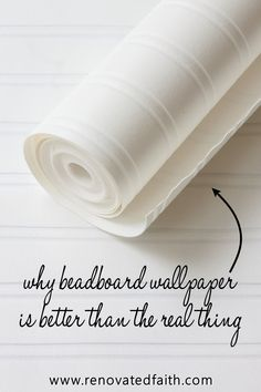 How to Hang Beadboard Wallpaper (Why It's Better than the Real Thing!) - Best tips & tricks for beadboard wallpaper installation including ideas for furniture, dining rooms - Wallpaper Stairs, Kitchen Wallpaper, Diy Wallpaper, Bead Board Wallpaper, Wallpaper On Furniture, Wallpaper Ceiling Ideas, Painted Wallpaper, Farmhouse Furniture, Diy Furniture