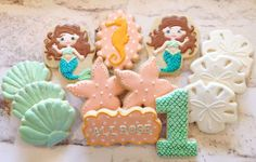 Laura L's Birthday / Under the Sea/ Mermaid - Photo Gallery at Catch My Party Mermaid Under The Sea, Under The Sea Party, Ariel The Little Mermaid, Mermaid Cookies, Birthday Cookies, Luau Party, Mermaid Birthday, 1st Birthday Parties, Cookie Decorating