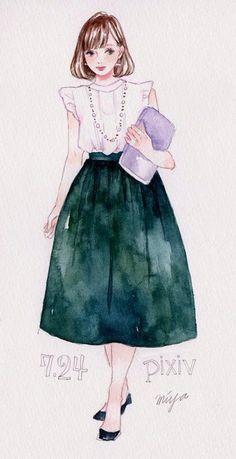 【オシャレ女子必見】水彩で描くファッションスケッチ作者miyaさんに聞く! - pixiv Spotlight