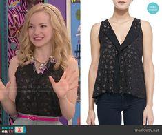 Liv's black glitter hearts top and on Liv and Maddie.  Outfit Details: http://wornontv.net/49794/ #LivandMaddie