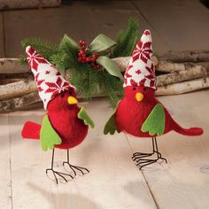 "Red Felt Birds | AcaciaLifestyle.com | $30  They look like they're having a little chat. Winsome birds have felt bodies, wings, and beaks, knitted holiday hats, and wire legs. Each is unique. Made by hand, about 9"" high. Sold as a pair. Christmas Bird, Christmas Stockings, Christmas Ornaments, Holiday Hats, Felt Birds, Red Felt, Wow Art, Christmas Decorations, Holiday Decor"