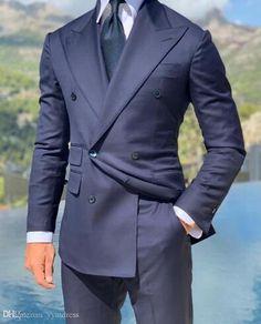 Slim Fit Navy Wedding Tuxedos For Groom Wear Groomsmen Best Man Suit Men's Suits Bridegroom (Jacket+Pants) Prom Party Guest Custom Black Prom Suits, Black Suit Wedding, Wedding Suits, Wedding Tuxedos, Groomsmen Tuxedos, Casual Wedding, Wedding Dress, Mens Tuxedo Suits, Tuxedo For Men