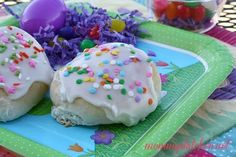 These cute little Easter Buns are a cinch to make because you start with frozen dinner rolls. Each Easter bun is filled with a lemon-cream cheese filling, topped with a simple vanilla icing, and finished off with sprinkles.