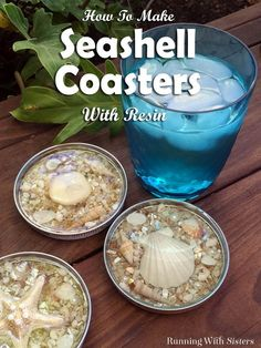 Make seashell coasters with resin. We'll show you how to turn jar lids into coasters with pretty shells. We even have a video showing how to mix the resin! Crafts Seashell Coasters Made With Resin - Running With Sisters Seashell Art, Seashell Crafts, Beach Crafts, Crafts With Seashells, Ocean Crafts, Seashell Ornaments, Mermaid Crafts, Summer Crafts, Diy Resin Crafts