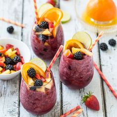Kombucha Sangria Smoothie- a totally cool and refreshing non-alcoholic treat!