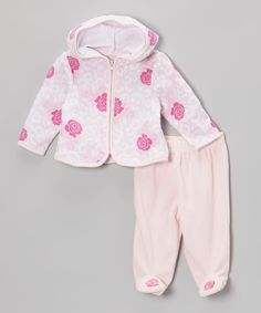Vitamins Baby Pink Rose Zip-Up Hoodie & Footie Pants - Infant by Vitamins Baby #zulily #zulilyfinds