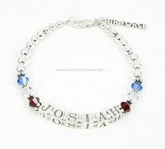 Deployment Bracelet® in Sterling Silver with Swarovski Crystals and Sterling Silver Air Force Charm. $69.00