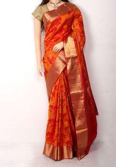 Golden Orange Jute Silk Saree