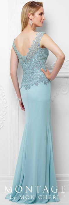Formal Evening Gowns by Mon Cheri - Spring 2017 - Style No. 117919 - pale blue chiffon evening dress with beaded lace bodice