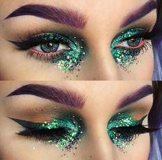 Carnival-makeup-eye make-up glitter-eyebrow . Carnival-makeup-eye make-up glitter-eyebrow color Drag Makeup, Makeup Art, Beauty Makeup, Medusa Makeup, Exotic Makeup, Sfx Makeup, Makeup Brush, Glitter Eyebrows, Glitter Makeup