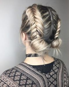 Braided double buns by Lauren Boucher