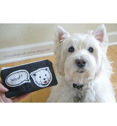 "Westie ""Woof!"" Terrier Dog Applique Zipper Pouch in Black Denim by Circus Dog Industries"