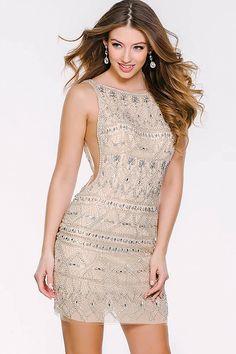 Nude Sleeveless Beaded Sheer Panel Dress 43024 b024c189bad7
