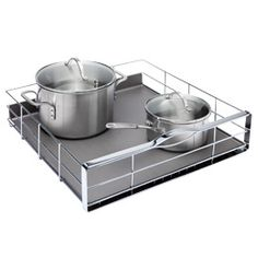 Simplehuman® Wide Pull-Out Cabinet Organizer is just right for use in your lower kitchen cabinets for easier access to pots and pans.  It can also be used for storing food items in the pantry or cosmetics and toiletries in a bathroom cabinet.  It features a tray at the base to catch spills or leaks. $59.00