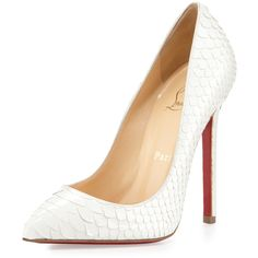 Pigalle Python Point-Toe Red Sole Pump, White - Christian Louboutin found on Polyvore
