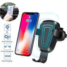 8 Plus MOKE EFWXCF100/_B Standard Charger for iPhone X 8 Wireless Charger Car Mount Effie Fast Wireless Charging Air Vent Car Mount Phone Holder for Samsung Galaxy S8 S8 Plus S7 S7 Edge S6 Edge plus Note 5