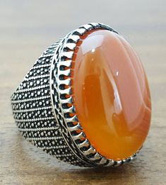 925K Sterling Silver Mens Ring With Natural Agate Stone