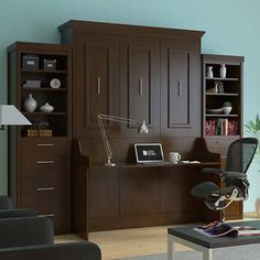 Bed & Room Porter Queen Portrait Wall Bed with Desk and Two Side Towers in Walnut