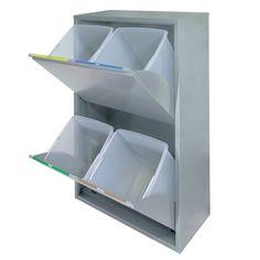 Mueble BASIC para recogida selectiva 4 residuos - Recogida selectiva - recipientes metálicos / Reciclar en casa es fácil - TRANSFORMA HOGAR