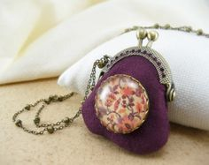 Aubergine mini purse frame necklace with floral print glass cabochon brooch Vintage style fabric pendant Antique bronze tone chain. (NE-012)