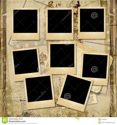 Vintage Background With Stack Of Old Polaroid Frame Royalty Free ...