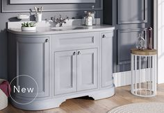 Burlington Bathrooms - Freestanding 134 Curved Vanity Unit with drawers - Classic Grey and Minerva white worktop with integrated white basin Toilet Vanity Unit, Grey Vanity Unit, Basin Vanity Unit, Bathroom Vanity Units, Bathroom Basin, Small Bathroom, Family Bathroom, Bathroom Ideas, Burlington Bathroom