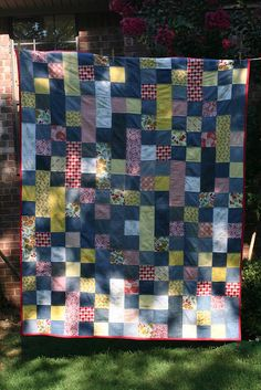quilt with recycled denim