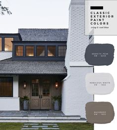 New house exterior paint combinations Ideas Exterior Paint Color Combinations, Exterior Color Palette, House Paint Color Combination, Exterior Paint Colors For House, Paint Colors For Home, Exterior Paint Schemes, Exterior House Colour Schemes, Outside House Paint Colors, Outdoor Paint Colors