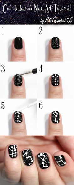 Constellation Nail Art Tutorial via @alllacqueredup