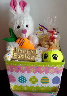 Dog treat gift basket gift for dog lovers dog toys dog treats dog treats dog easter treat basket by dogbonesboutique on etsy negle Choice Image
