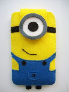 Minion felt Phones Case, Cute Minion mobile accessory, Felt cellphone case with Descipable Me Minion Design for any phone