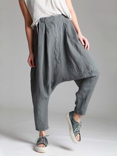 TENCEL LOW CROTCH PLEADS TROUSER - Woman -
