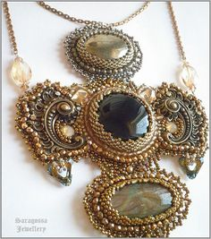 Cathedral cross - Steampunk baroque fantasy necklace with Onyx, Labradorite and Pyrite, bead embroidered