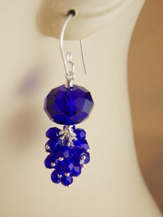 Cobalt Crystal Wire Wrapped Earrings  #handmade  #thecraftstar  $36.00