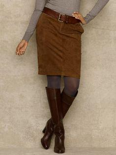 Suede Ventura Skirt - Short Skirts Skirts - RalphLauren.com