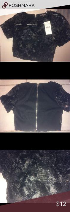 Fashion Nova Sequin Crop Top New with tags black sequin zip up crop top. Size XS. Never worn. Perfect for a night out! Fashion Nova Tops Crop Tops