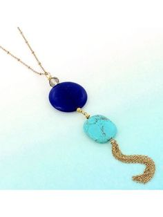 Royal Blue and Turquoise Stone with Chain Tassel Pendant Necklace