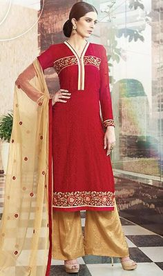 Scarlet Color Embroidered Georgette Palazzo Suit