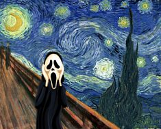"""Culture Mechanism: The Starry Night by Vincent Van Gogh (1889) ---- This a little blend of """"The Starry Night"""", """"The Scream"""" by Edvard Munch, and a little pop culture from the movie also by the name: """"Scream""""."""