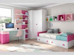 Habitación juvenil blanco , fucsia y rosa con tirador botón
